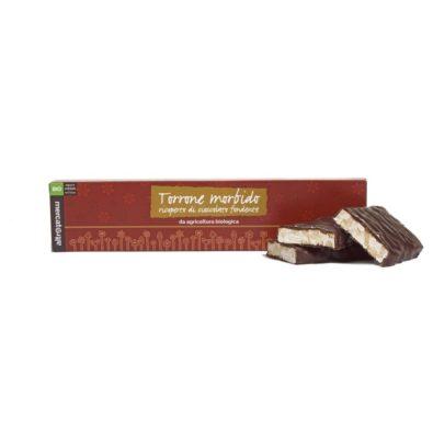 Torrone morbido anacardi e miele ricoperto di cioccolato fondente