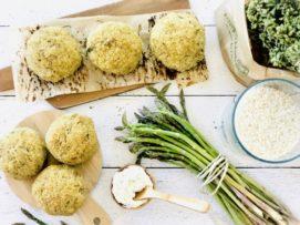 Arancini di riso con asparagi e caprino